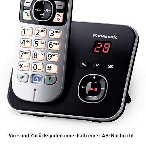 Panasonic KX-TG6824GB DECT Schnurlostelefon mit Anrufbeantworter (Telefon mit 4 Mobilteilen, strahlungsarm, Eco-Modus, GAP Telefon, Festnetz) schwarz