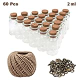 BELLE VOUS Glasfläschchen(60 Stück) mit Korken - 2ml Mini Glasflaschen mit 30m Garn und 60...