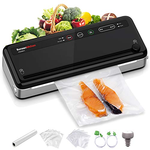 Food Saver Vacuum Sealer Machine For Food, Vaccume Sealer Machine Built in Air Sealing System with Vacuum Sealer Kits, Avoid Dehydration n Freezer Burn, Dry/Moist Model For Sous Vide-Black