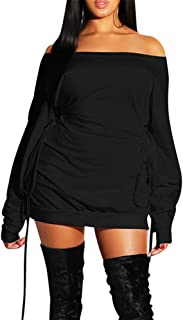 Women's Casual Off Shoulder Long Sleeve Lace Up Loose Club Mini Dress