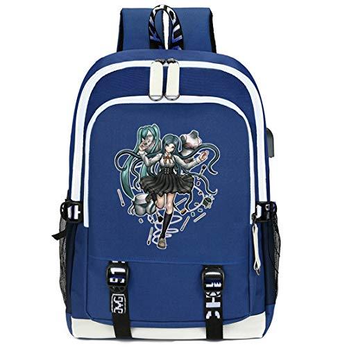 Unisex Fashion Canvas Backpack USB Charging Students Double Zipper Backpack Danganronpa (5)