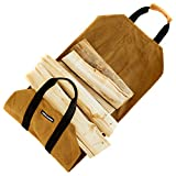 Angry Beaver Waxed Canvas Firewood Carrier Log Tote, Fireplace...