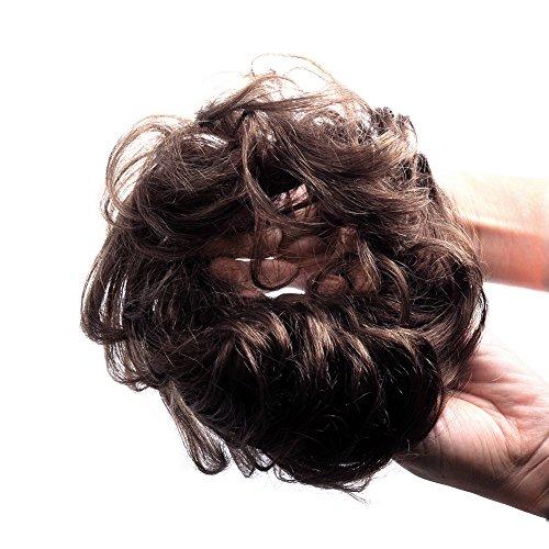 Bella Hair 100% Human Hair Scrunchies Bun UpDo Hair Piece Wavy Curly or Messy Ponytail Extensions #2 Dark Brown