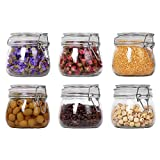 ComSaf Glass Storage Jars with Lids 500ML Food Canisters Set of 6 - Airtight Clear Preserving Seal Wide Mouth Containers with Wire Clip Fastening for Kitchen Canning Cereal,Pasta,Sugar,Coffee,Spices