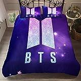 Wusan 3Pcs Indigo BTS Duvet Cover Set Full Size Bedding Set for Kids Boys Girls Teens South Korea Idol Group Pattern Design,1 Duvet Cover+2Pillowcases with Zipper Closure & Corner Ties
