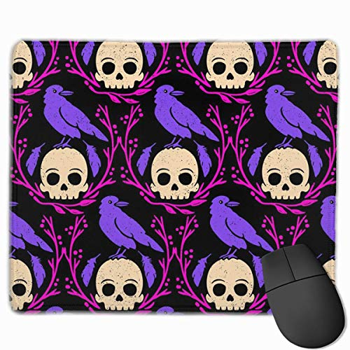 Professional Gaming Mouse Pads Crows Skull Laptop Pad Non-Slip Rubber Stitched Edges 18X22cm