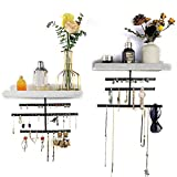Hanging Jewelry Organizers Wall Mounted, Earring Storage, Bracelet Holder Stand, Perfume Holder, Necklace Hanger, Sunglasses Storage Organizer, Rustic Wood Organizer, 3 Tier 2 Pack (White)