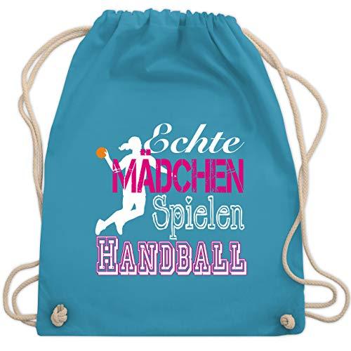 Shirtracer Handball - Echte Mädchen Spielen Handball weiß - Unisize - Hellblau - hummel mädchen - WM110 - Turnbeutel und Stoffbeutel aus Baumwolle