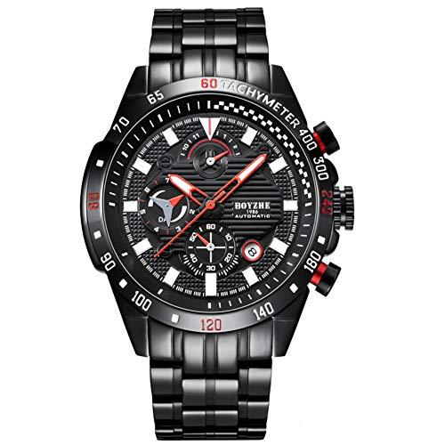 BOYZHE - Reloj de pulsera para hombre, automático, mecánico, moderno, deportivo, de lujo, de acero inoxidable, reloj para hombre