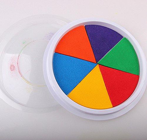 Muium 6 Colores Almohadilla de Tinta Colorida para Pintar con los Dedos de los niños,DIY Tinta Almohadilla Sello Dedo Pintura Artesanal Cardmaking Gran Ronda para niños