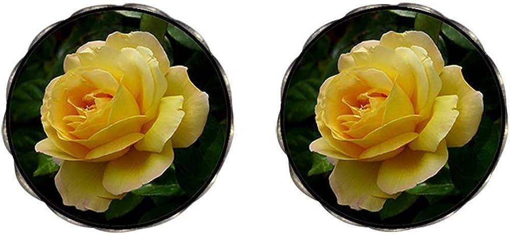 GiftJewelryShop Bronze Retro Style Yellow Rose Photo Clip On Earrings Flower Earrings 12mm Diameter