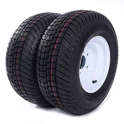 "PARTS-DIYER 2PCS 10"" 20.5x8.0-10 Tubeless Trailer Tires 5 Lug Wheel White Spoke w/Rims 6PR Load Range C"
