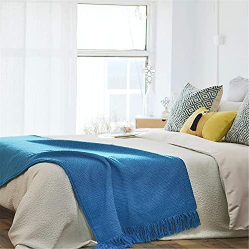 XJZKA Cubierta de Cama Bufanda de Cama Corredores de Cama de Color Azul sólido con Borla, Ropa de Cama de Lujo Colchas Decoración de Hotel para el hogar, 70X240cm para Cama de 180cm