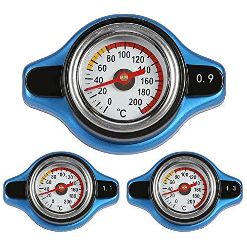 Auto Wassertank Kühlerdeckel Wassertemperaturanzeige, Universelle 0,9/1,1/1,3 BAR Thermostatischer Kühlerdeckel Kuehlerverschlussdeckel mit Wassertemperaturanzeige (0.9 Bar)