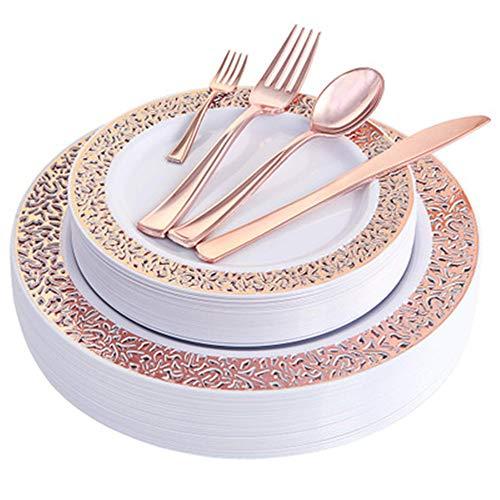 XWSD Placas de plástico de Oro Rosa de 150 Piezas o 125 Piezas con Cubiertos de plástico Desechables, diseño de Encaje de plástico, ahorre Tiempo, para Uso en Bodas