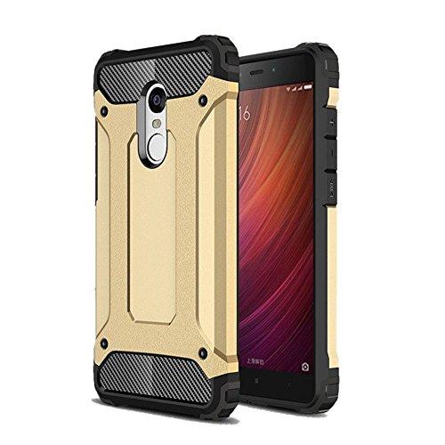 Funda Xiaomi Redmi Note 4, Silicona Gel TPU y Plástico PC - Mavis's Diary Cover Shock-Absorción y Anti-Arañazos Carcasa Case Bumper Parachoques Choque Absorción - Oro
