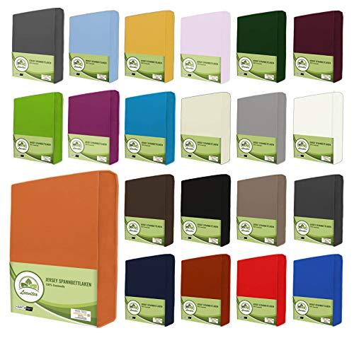 leevitex® Jersey Spannbettlaken, Spannbetttuch 100{23ddaa7a79da1219a6b22872e318aecb36ccecc3abe0ec887665b9858970126f} Baumwolle in vielen Größen und Farben MARKENQUALITÄT ÖKOTEX Standard 100 | 180 x 200 cm - 200 x 200 cm - Terrakotta