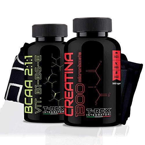 COMBO DE PRE-ENTRENAMIENTO: CREATINE 1300 CREAPURE 100 comprimidos de 1,3g Creatina Monohidratada + BCAA 2:1:1 Aminoácidos ramificados 200 comprimidos 100% CALIDAD KYOWA + Pastillero