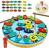 Ydq Niños Magnetico Pesca Letra Juego de Atrapar de Madera   Preschoolers Captura Juguete Montessori Educativo interactivos de Tablero   Reconocimiento de Color e Counting Game