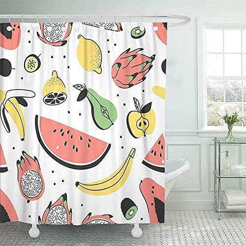 Not applicable Duschvorhang Tropische Früchte Künstlerisch Mit Essen Sommer Wassermelone Banane Papaya Pitaya Birne Apfel Zitrone Leidenschaft Duschvorhang,72X72 In