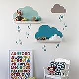 Limmaland Wandtattoo Wolken mit Tropfen passend für Deine IKEA RIBBA / MOSSLANDA Bilderleisten (Farbe Mint) - Babyzimmer Kinderregale