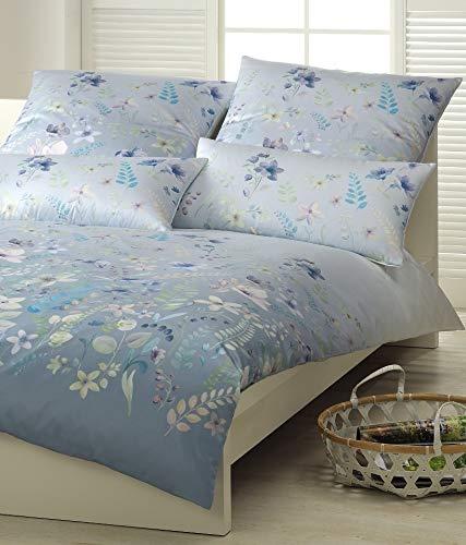 elegante Mako Honeymoon Jersey Bettwäsche Pavillon bleu Blumen Blüten 3418-2