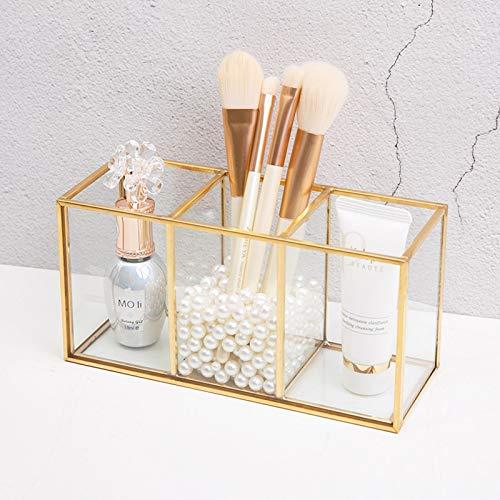 Boyigog Vidrio Organizador Maquillaje, Bandejas Decorativas, Transparente con Perlas para Baño Tocador Cosméticos y Almacenamiento