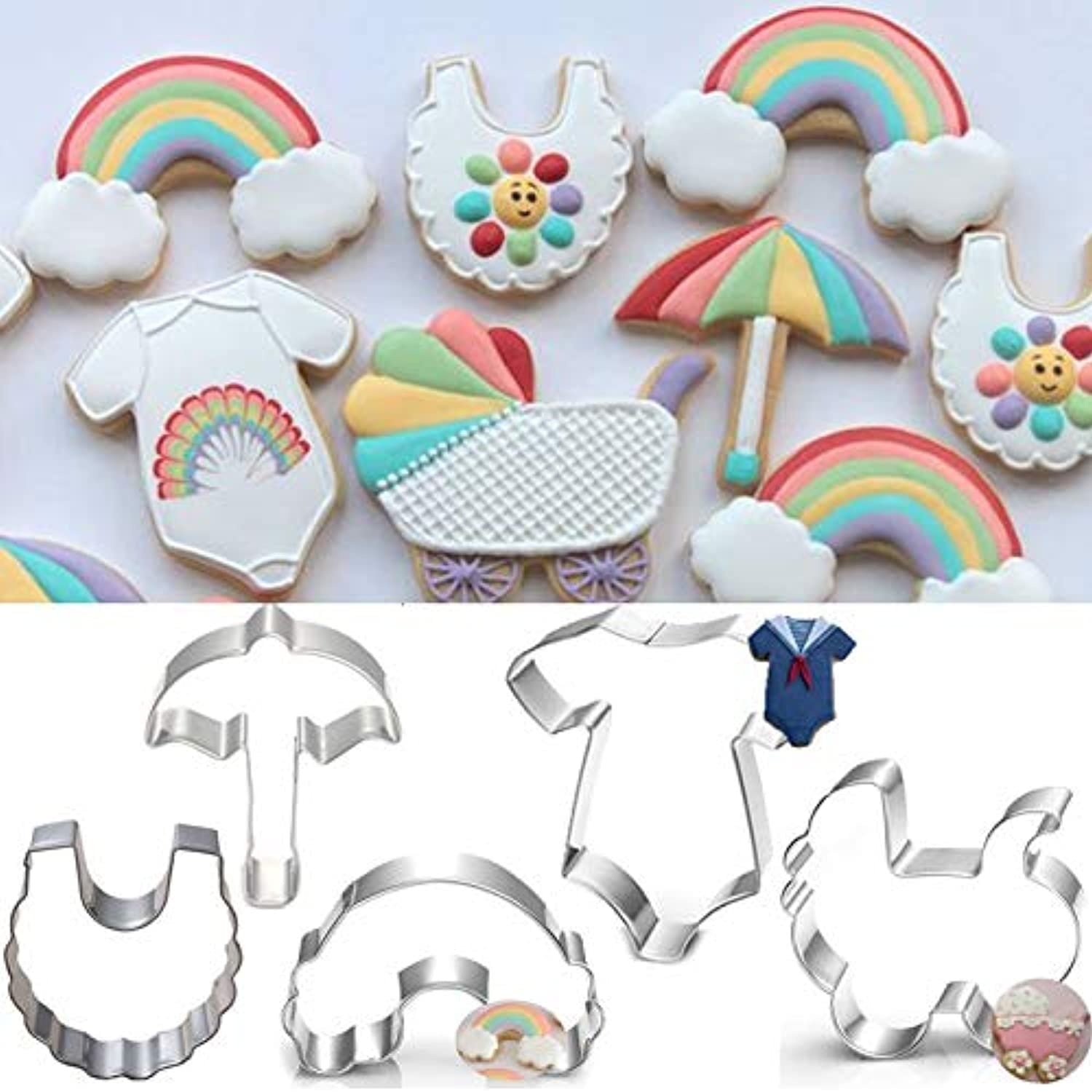 Farmerly 5pcs Patisserie reposteria Bakeware Baby Carriage Rainbow Fondant Cake Decor Tools Metal Cookie Cutter Chocolate Biscuit Mold