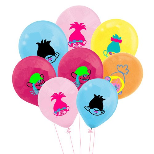Merchant Medley 25 Count Trolls Inspired Balloon Pack - Large 12 inch Size Latex - Includes 5 Styles