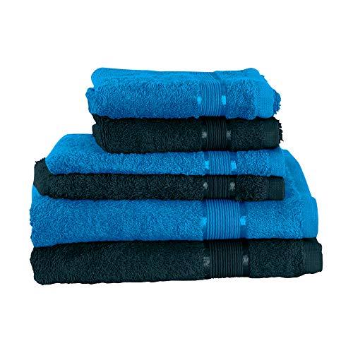 Mixibaby Juego de toallas de 6 piezas: 2 toallas de ducha, 2 toallas de invitados, 2 manoplas de baño, color verde oscuro