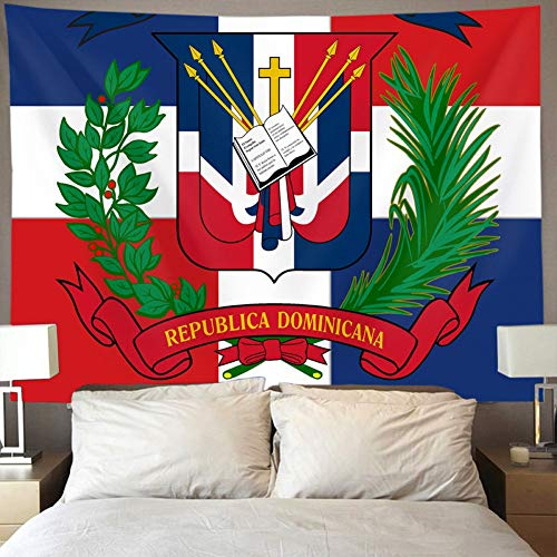 N / A Tapiz de Pared con Bandera de República Dominicana, Arte Hippie, decoración del hogar 130×150cm(51×59inch)