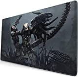 Professional Large Gaming Mouse Pad,Alien-Vs-Predator-Games,75x40cm Computer Mouse Mat,Mousepad Non-Slip Rubber Base Water Resistant Stitched Edge,Mouse Pad