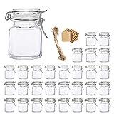 Spice Jars , Flrolove 30 Pack 3.5oz Square Glass Jars with Leak Proof...
