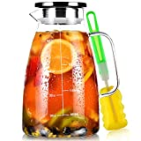 Water Jug, 2 L Glass Jug with Lid and Precise Scale Line, Stainless Steel Iced Tea Pitcher, Easy Clean Heat Resistant Borosilicate Milk Jug for Juice, Sangria, Cold or Hot Beverages
