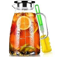 caraffa vetro, brocca acqua 2 litri precisa graduata, borosilicato brocche vetro con acciaio inossidabile 304 coperchio, caraffa refrigerante per tè freddo succo latte caffè vino bevande fatte in casa