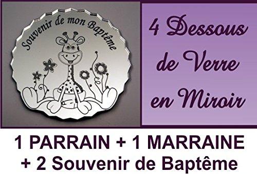 lot de 4 Dessous de Verre - Girafe - Baptême & Communion