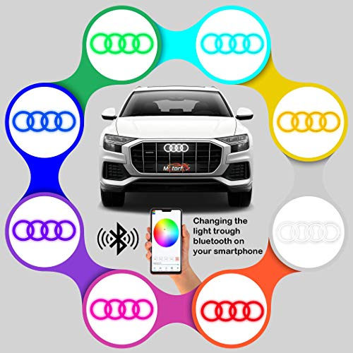 Motorfox Led Emblem Kühlergrill Ringe Logo Mehrfarbiges Bluetooth RGB Wasserdicht Smartphone Gesteuert A1 A3 A4 A5 A6