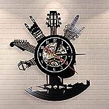 Reloj de pared de vinilo para guitarra, instrumentos musicales, regalos para fans de la música del rock, diseño de arte para el hogar