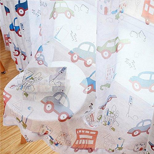 adaada Vorhänge Für Kleine Fenster,Vorhänge Auto Kinderzimmer,Vorhänge Kinderzimmer,2er Set (245X100cm, Tüllvorhänge)