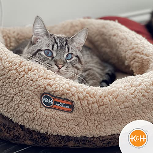"""K&H Pet Products Thermo-Snuggle Cup Bomber (14"""" x 18"""") - Indoor Heated Cat Bed - MET Listed - Removable 4 Watt Heated Included"""