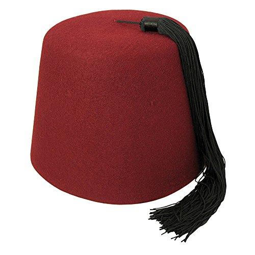 Village Hat Shop Maroon Fez with Black Tassel (Small, Maroon/Black)