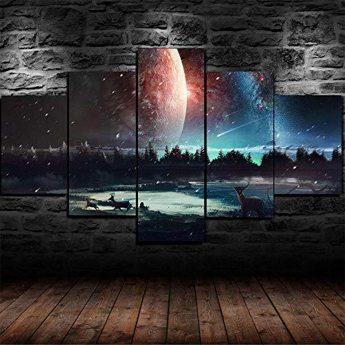 GIRDSSC 5 Teiliges Wandbild,Druck Auf Leinwand Bilder Kunstdrucke Moderne Wohnzimmer Deko Format Design Wand Bilder XXL Kunstdrucke 5 Teilig Leinwandbilder Abstrakt Galaxie Sterne Universum Raum