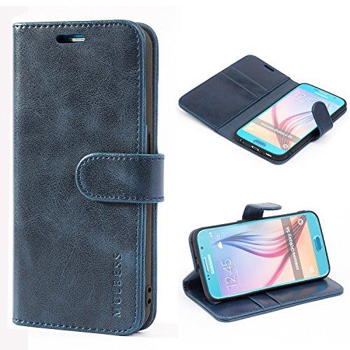 Mulbess Funda Samsung Galaxy S6 [Libro Caso Cubierta] [Vintage de Billetera Cuero de la PU] con Tapa Magnética Carcasa para Samsung Galaxy S6 Case, Azul Marino