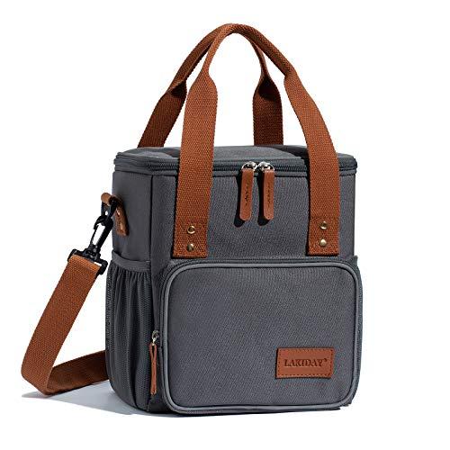 LAKIDAY Lunch Tasche Damen Herren Kinder Thermotasche Wiederverwendbare Lunchtasche für Arbeit, Picknick, Wandern, Ausflügen, Angeln(9L;Dunkel Grau-2)