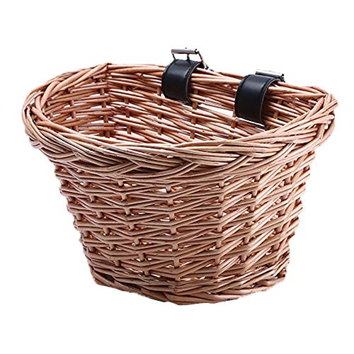 Ourlitime, cestino da bicicletta vintage in vimini, a forma di D, con cinghie per manubrio marroni, per bambini/ragazzi/ragazze, ragazza, 32Q04X14UQ, In legno., S
