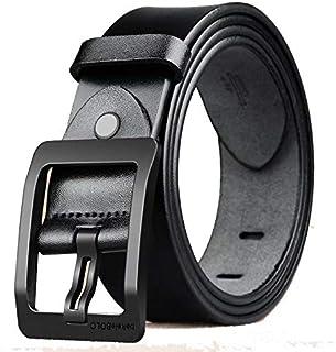 Leather Belt for Men, Pin buckle belt, Soft Genuine Belts for Business Casual Jeans Dress/110-125cm