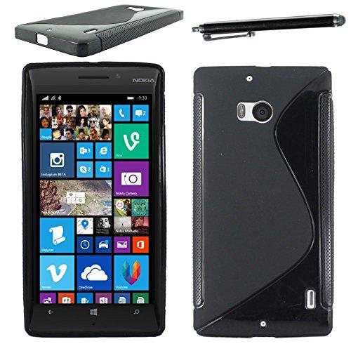 ebestStar - Cover Compatibile con Nokia Lumia 930 Custodia Protezione S-Line Design Silicone Gel TPU Morbida e Sottile + Penna, Nero [Apparecchio: 137 x 71 x 9.8mm, 5.0'']