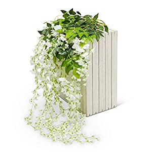 Artificial Silk Wisteria Vine Garland Flowers 12 Pack 3.6 FT-Fake Hanging Flower Wedding Home Kitchen Decor Garden Outdoor Greenery And Decorations – Floral White Faux Succulents Wall Vines Decoration