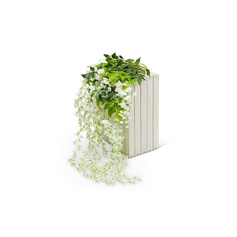 silk flower arrangements artificial silk wisteria vine garland flowers 12 pack 3.6 ft-fake hanging flower wedding home kitchen decor garden outdoor greenery and decorations - floral white faux succulents wall vines decoration