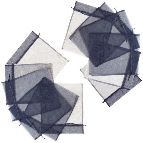Brybelly 12Grandi Sacchetti in Organza, con Lacci Nero (Grande 30,5x 35,6cm)